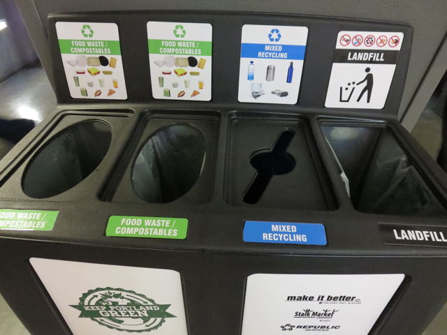 recycling, compost, trash